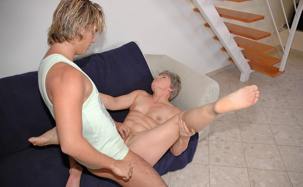 granny fucked on a couch